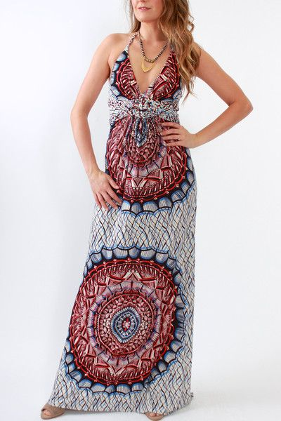 Sky Collections Phyllis maxi dress in red, white, and blue print