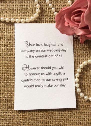 Wedding Gift Wording For Honeymoon: 25 /50 Wedding Gift Money Poem Small Cards Asking For