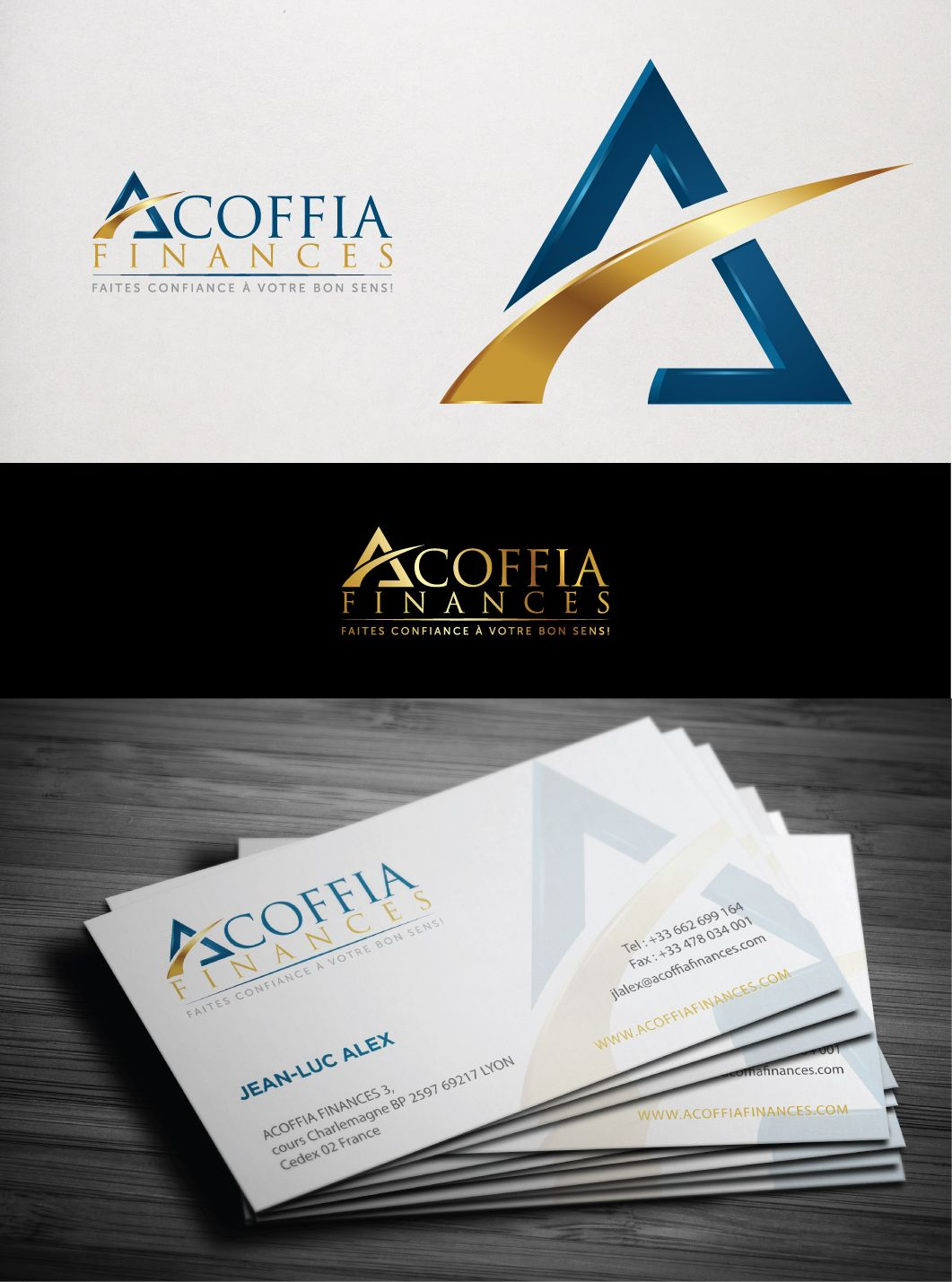 A logo and business card design for company acoffia finance in a logo and business card design for company acoffia finance in france colourmoves Image collections