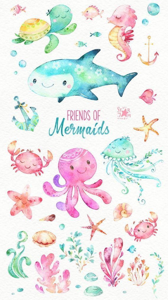 Freunde der Meerjungfrauen. Aquarell ClipArt, Fisch, Quallen, Schildkröte, Meer, Oktopus, Krabbe, nautisch, Unterwasser, Ozean, rosa, Muscheln, Babyshower