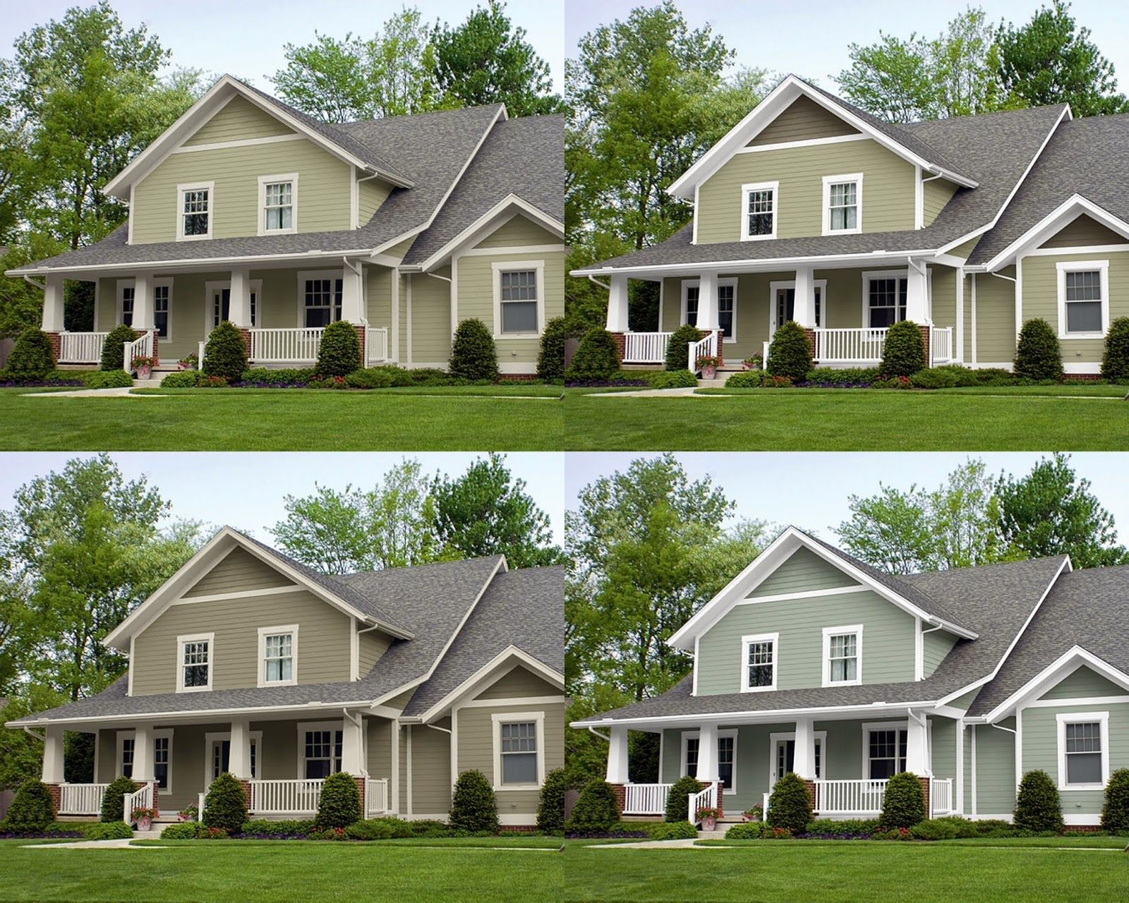 I like the bottom right oyster bay by sherwin williams - Green exterior paint color schemes ...