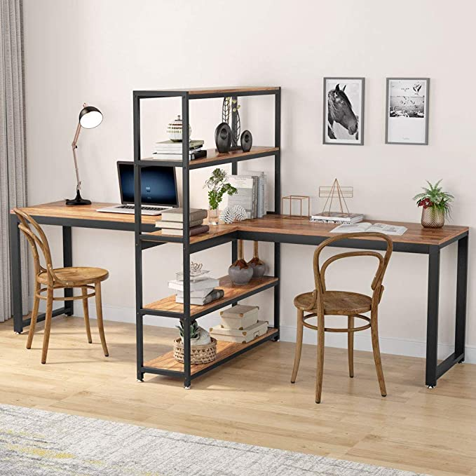 Amazon Com Tribesigns Two Person Computer Desk With Bookshelf 90 Inches Double Face Face Workstation Desk In 2020 Computer Desk With Shelves Bookshelf Desk Home Desk