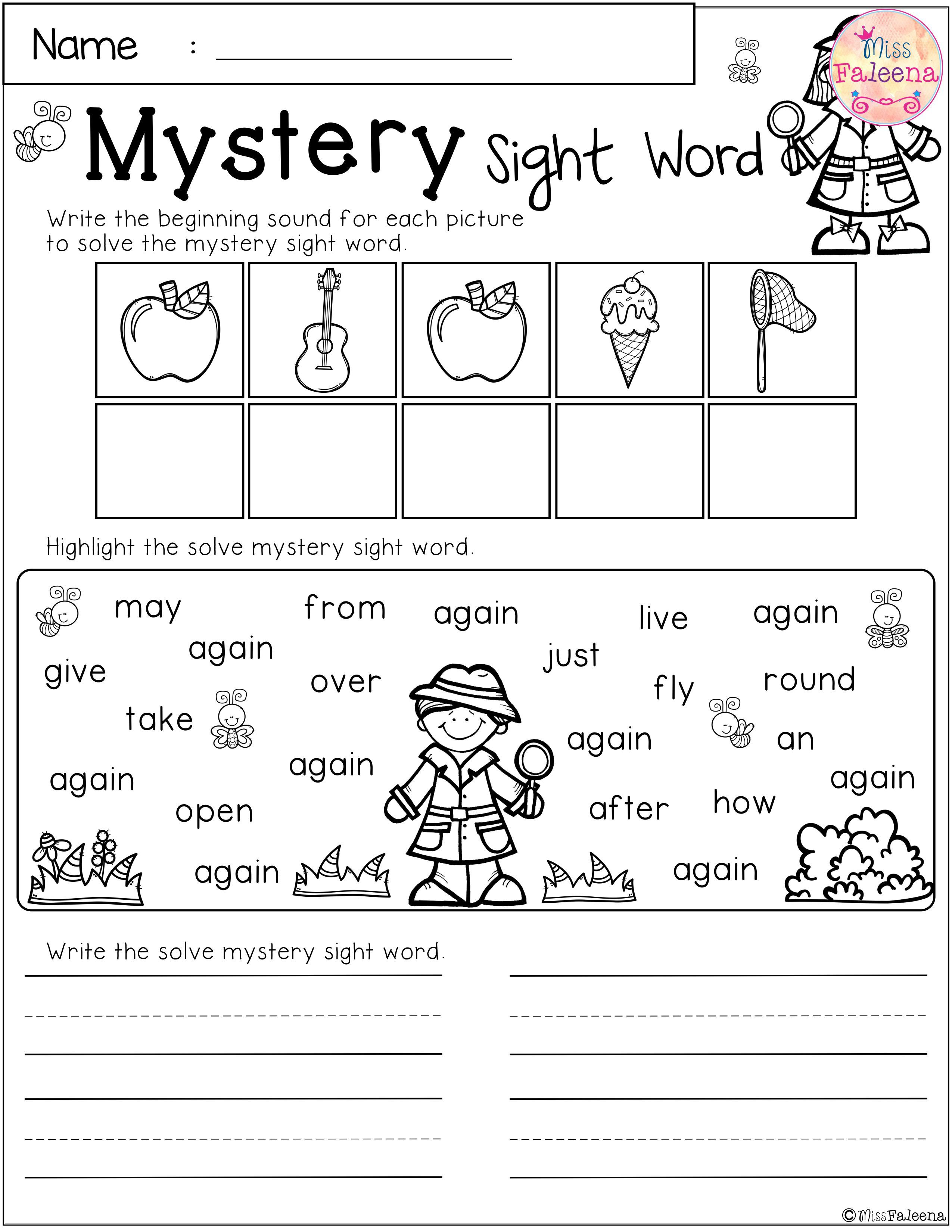 Free Mystery Sight Word Practice Second Grade Pinterest Pre