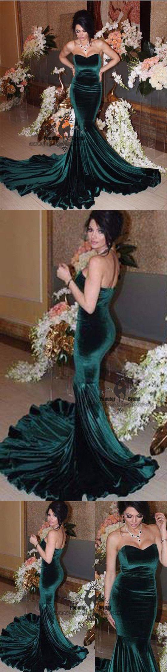 Sweetheart green velvet mermaid long prom dresses formal evening