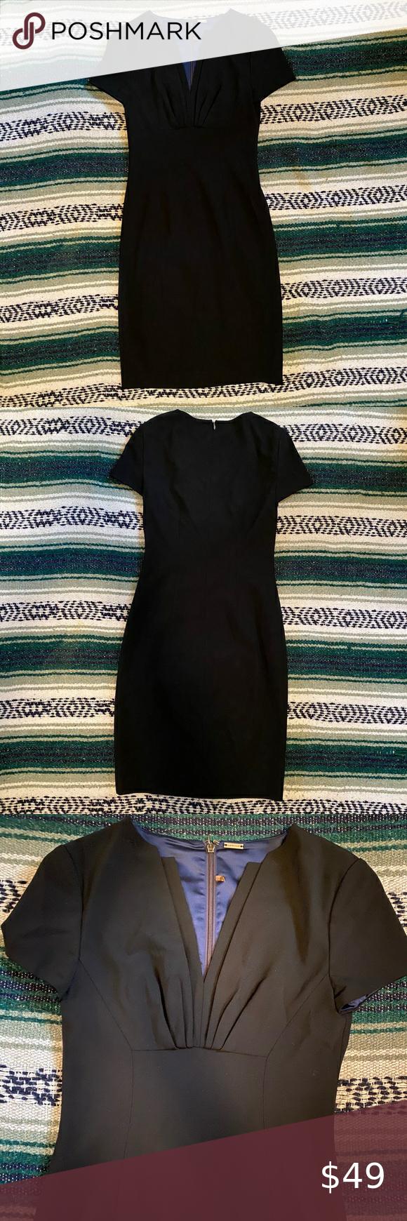 Elie Tahari Black Dress With V Neck Cap Sleeves Elie Tahari Dresses Capped Sleeve Dress Elie Tahari [ 1740 x 580 Pixel ]