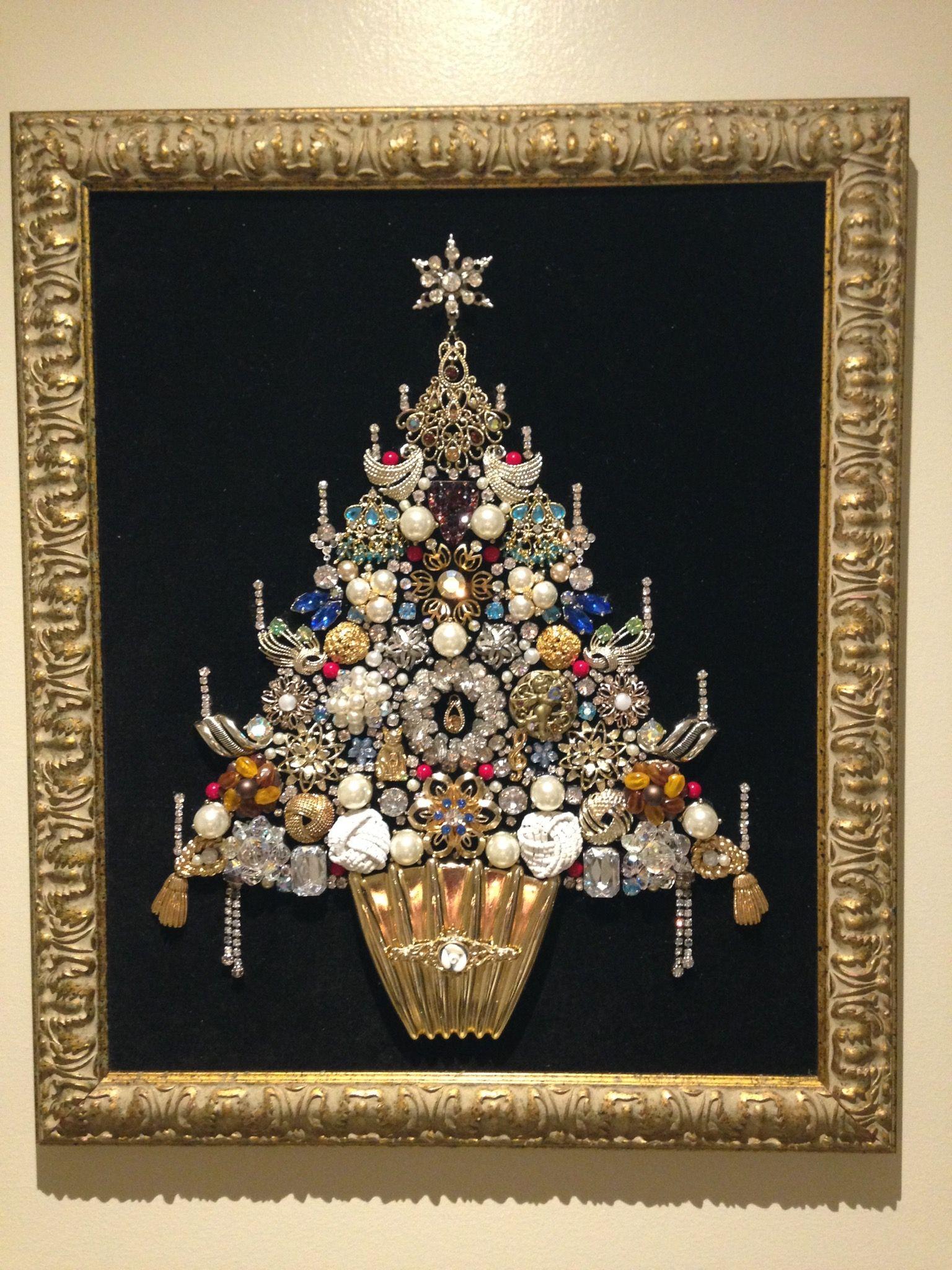 Jewelry Christmas Tree Made By Analia Jewelry Christmas Tree Christmas Tree Art Jeweled Christmas Trees