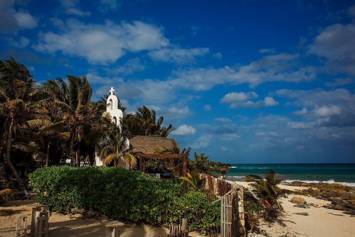 Capilla de Santa Maria del Secreto, beach front wedding chapel in Playa del Secreto, Mexico. Juan Euan Photography