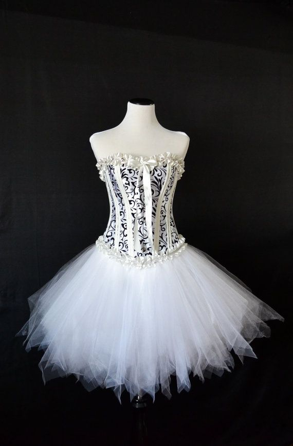 eb51fbbfe9a Custom Order for Kim P. Black on white burlesque corset dress ...