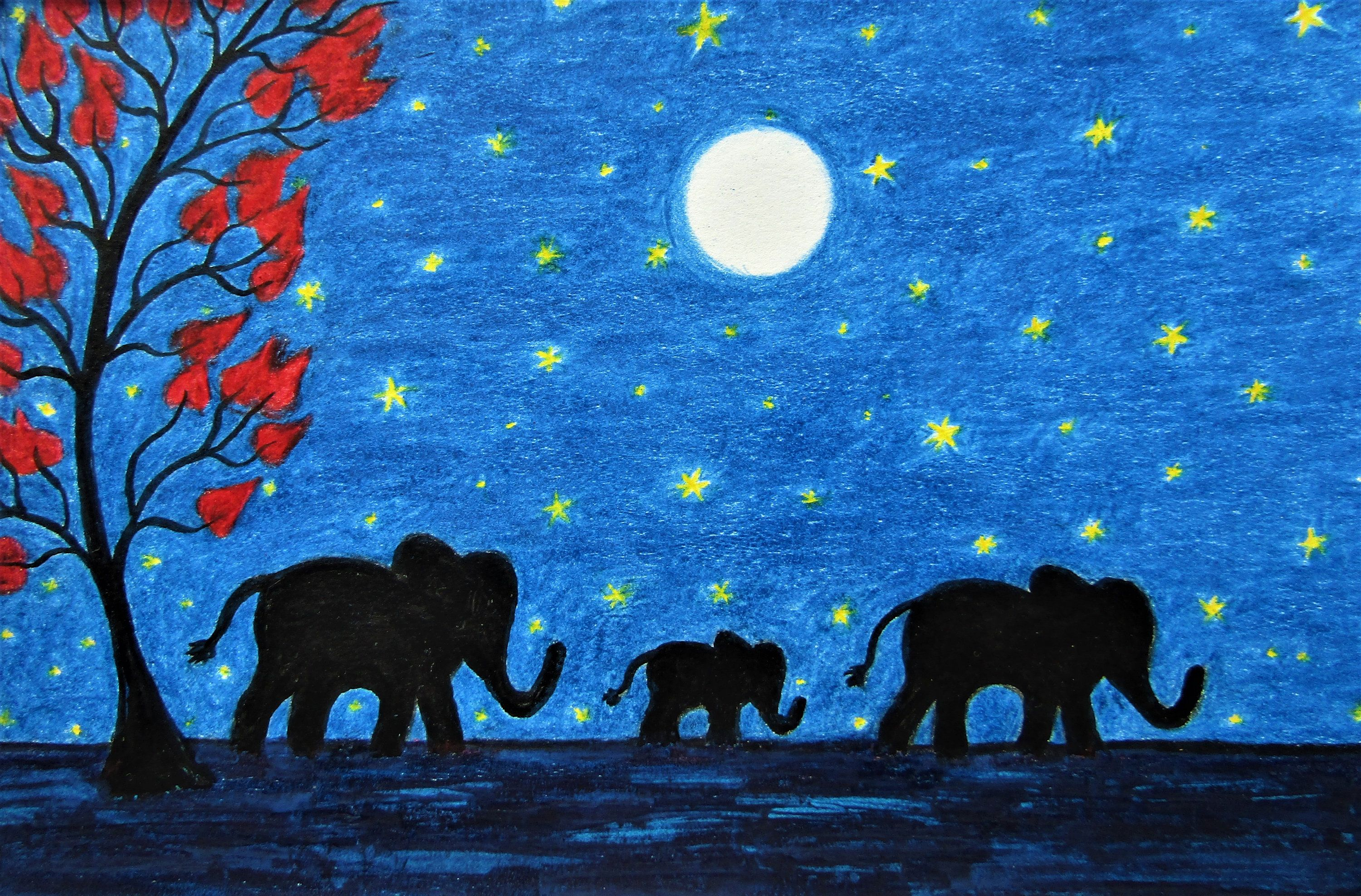Elephant Gift, Christmas Art Print, Baby Elephant Moon Stars, Framed Animal Art, Childrens Xmas Gift, Three Elephants, Family, Animal Print #elephantitems