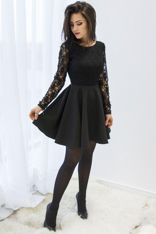 Czarna Koronkowa Sukienka Z Dekoltem Na Plecach Stylish Dresses For Girls Lace Dress Black Dresses