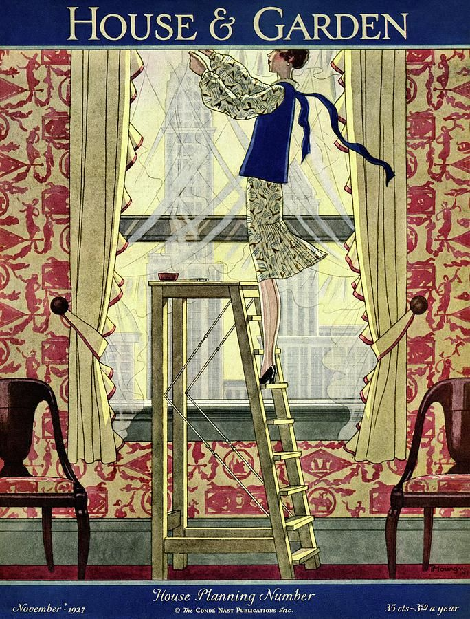 A Young Matron Adjusting Curtains by Pierre Mourgue
