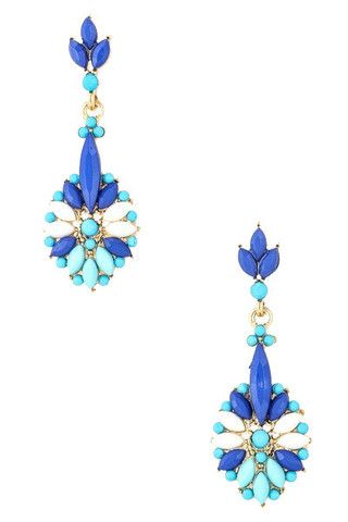 Blue Floral Jewel Earrings | uoionline.com: Women's Clothing Boutique