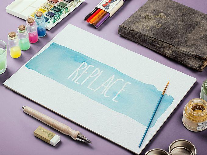 Watercolor Sketch Mockup Watercolor Sketch Mockup Free Psd Sketch Free