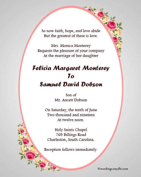 Sample Wedding Invitation Card: Nice Christian Wedding Invitation Wording