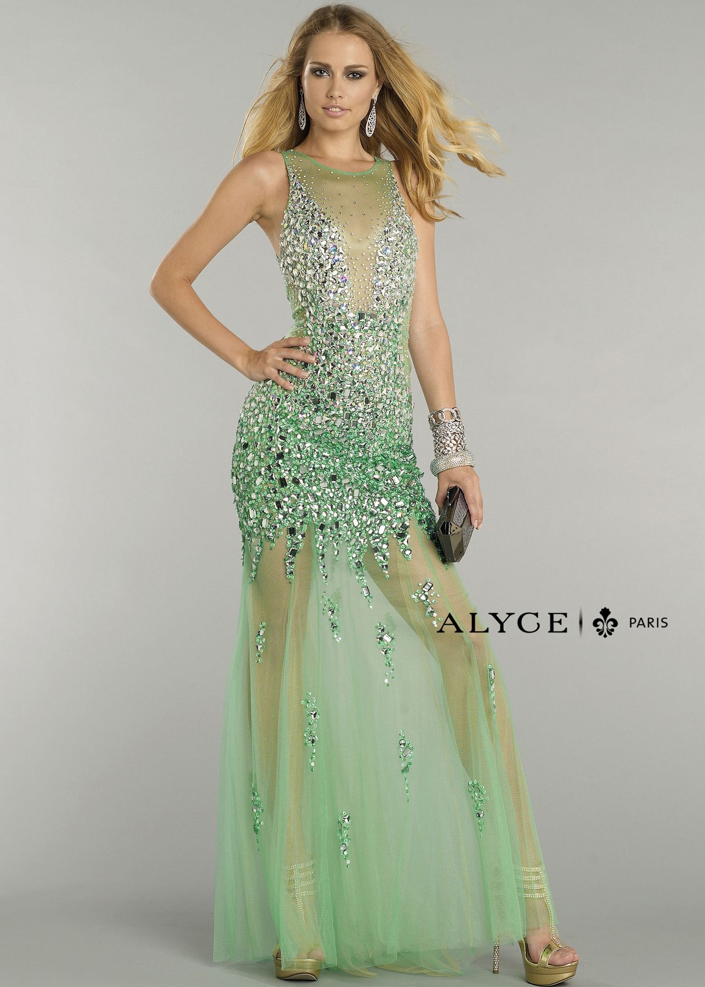 Green beaded jewel tulle slim fit illusion gown alyce