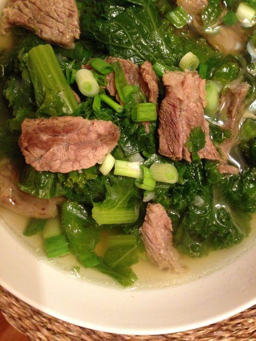 mustard green and beef rib soup