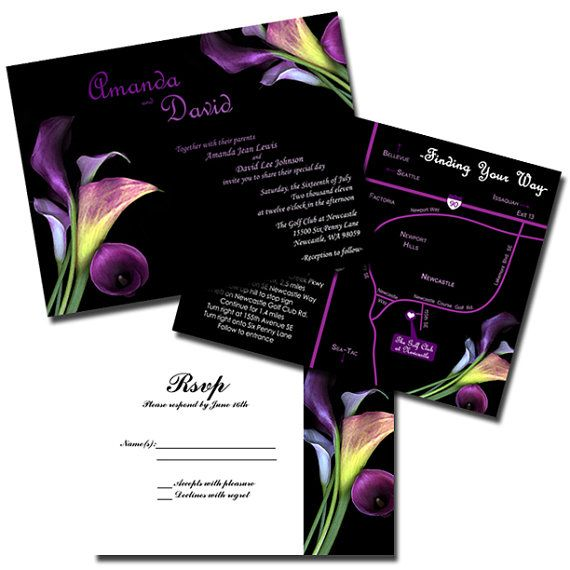 Calla Lily Wedding Invitation Sample Flat Or Pocket Fold Style