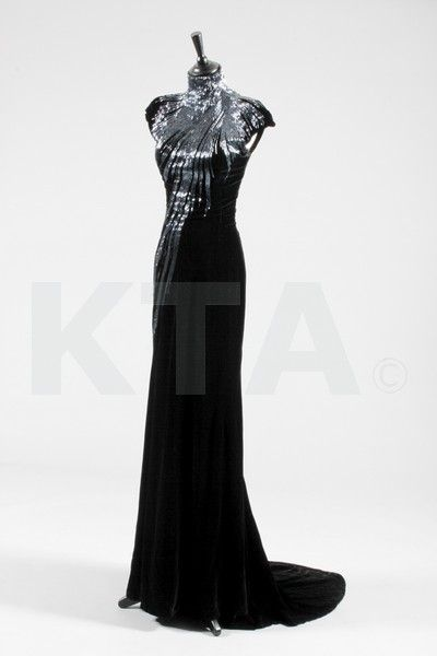 fe8d916a77 Alexander McQueen black velvet and bugle beaded evening gown