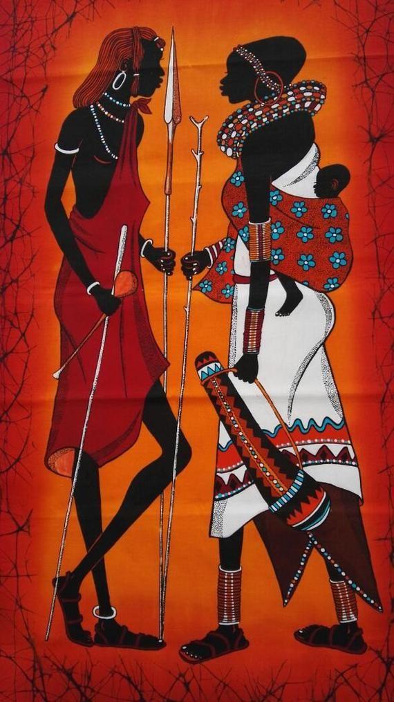 Wandbehang Batik, handgefertigte Wand-Dekor-Batik, Maasai Familie Batik, Haus Erwärmung Geschenk, Wohnzimmer Dekor, Wohnkultur, afrikanische Kunst batik #afrikanischerstil