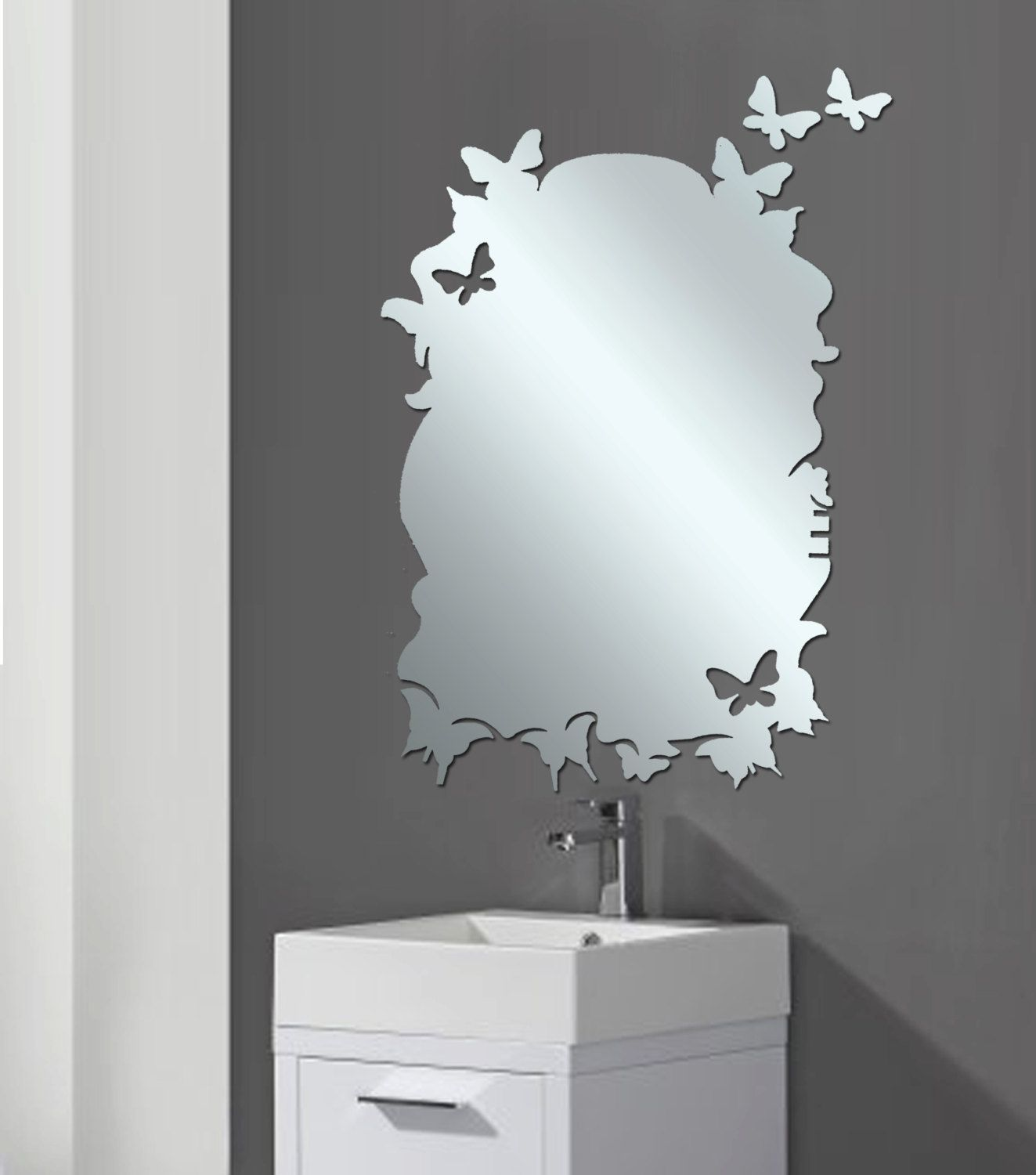 modern butterfly wall decal mirror for bathroom or by colorpan . modern butterfly wall decal mirror for bathroom or by colorpan