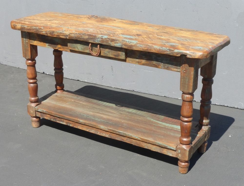Vintag Rustic Farmhouse Reclaimed Distress Wood SPANISH STYLE Sofa Console  TABLE #Farmhouse #Unknown