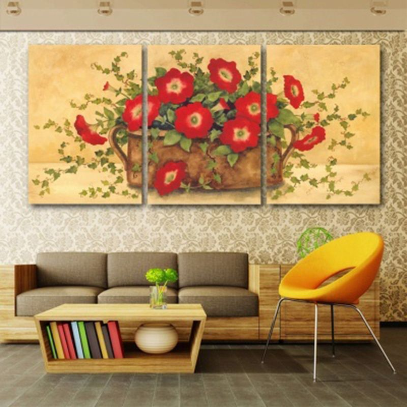 Canvas Wall Art 3 Pieces Red Flowers Potted Plant Paintings Living ...