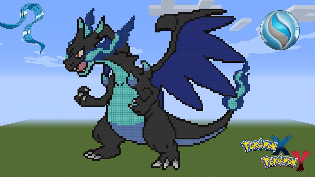 Minecraft Pixel Art Pokémon Charizard X Mega Evolution