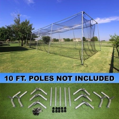 Batting Cage Net and Frame Kit 40x12x10 Baseball Softball Hitting ...
