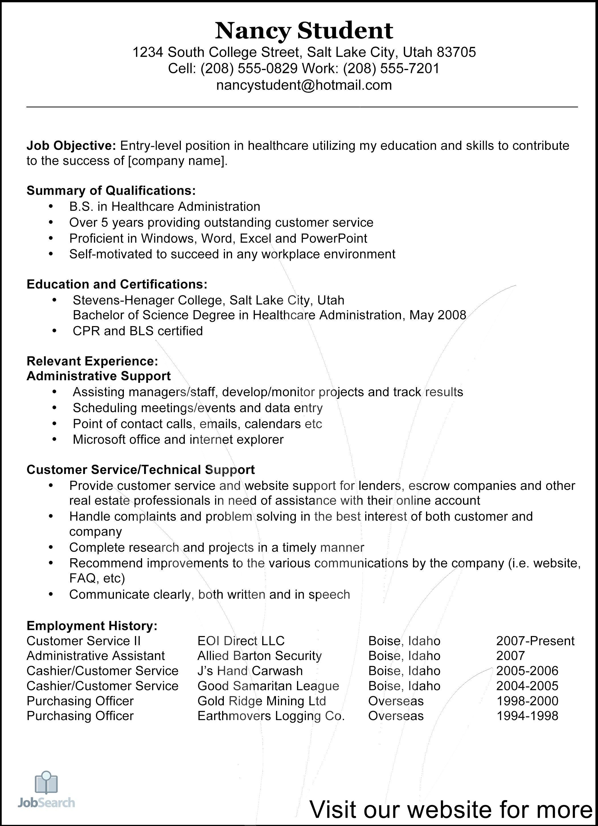 resume example after first job in 2020 Customer service