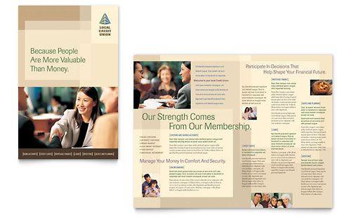 Microsoft Word Template - Credit Union \ Bank Brochure Work - microsoft word templates for brochures