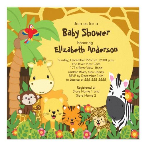 Baby Shower Favors Jungle Animals ~ Cute safari jungle animals baby shower invitations
