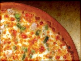 Pizza Ranch: CALIFORNIA CHICKEN  Chicken, Green Peppers, Tomato, Onion, Garlic Sauce, Cheese