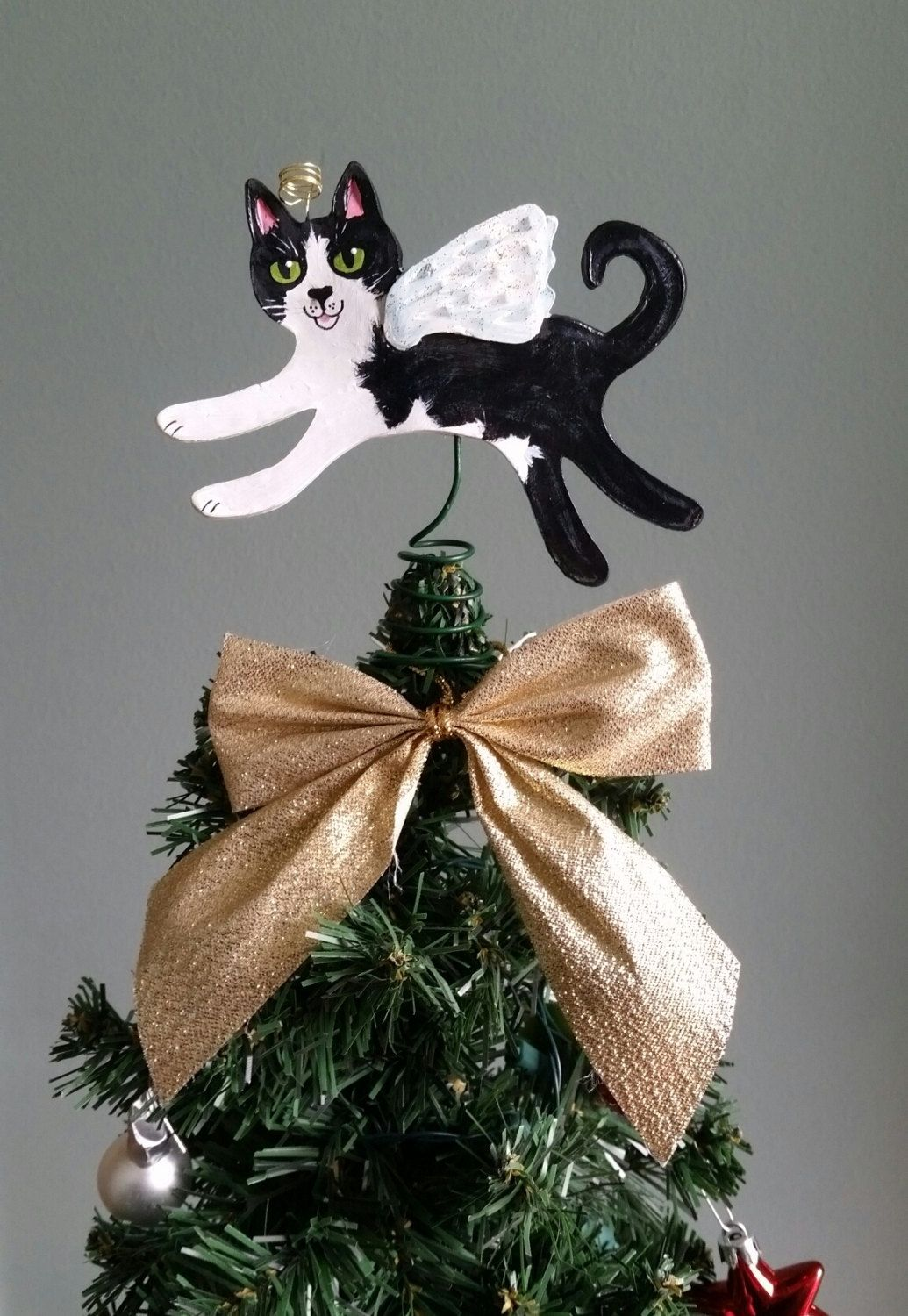 Tuxedo Cat Topper Cat Tree Topper Tuxedo Cat Angel Fits Etsy Tree Toppers Tree Gift Hand Painted