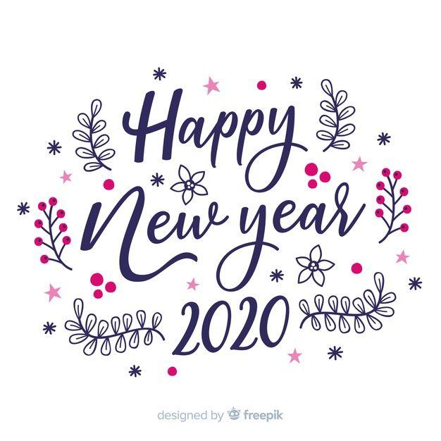 Happy New Year 2020 White Background