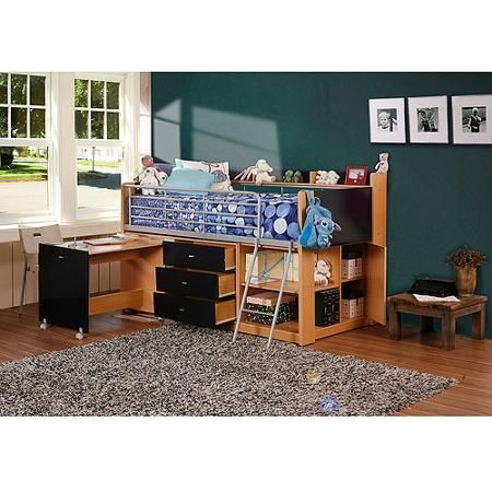 Savannah Storage Loft Bed with Desk, Navy and Natural #tentbedteen