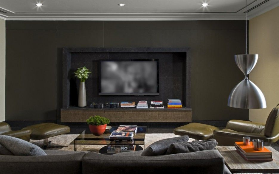 Modern Dark Gray Beige Family Tv Room Design Featuring Black Wall