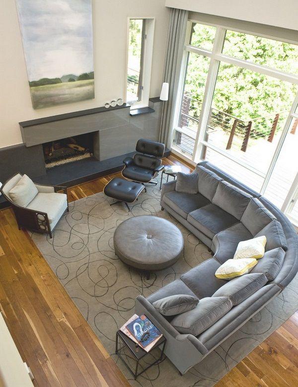 Gut Round Chimney Wall Wood Floor Sofas Modern Gray Wohnzimmer Layouts,  Zeitgenössische Wohnzimmer, Esszimmer,
