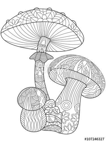 Mushroom Coloring For Adults Mandala Coloring Pages Coloring Pages Coloring Books