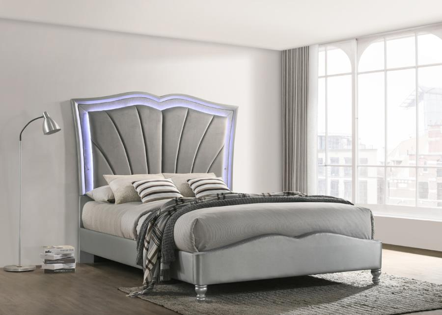 310048q Rosdorf Park Laufer Bowfield Grey Velvet Ornate Tufted Led