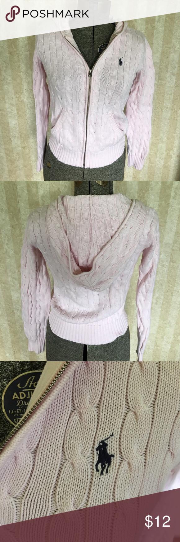 Ralph Lauren Sport zip front sweater Light pink Ralph Lauren Sport zip front hooded sweater. Ralph Lauren Sport Sweaters Cardigans