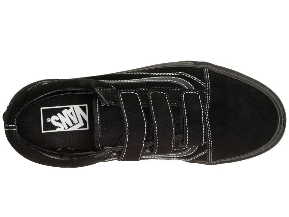 12e5cdf6bd Vans Old Skool V Skate Shoes (White Stitch) Suede Black