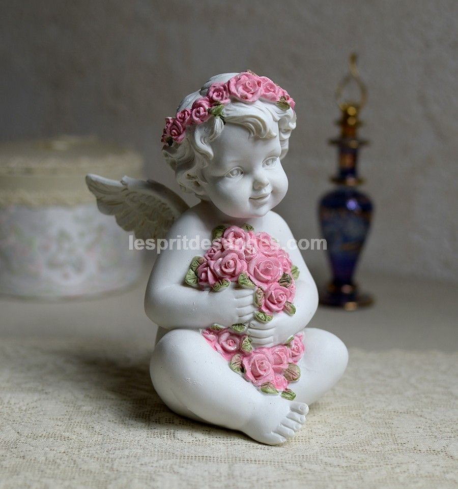 LEsprit des Anges Statue Ange Ange Guirlande de Fleurs