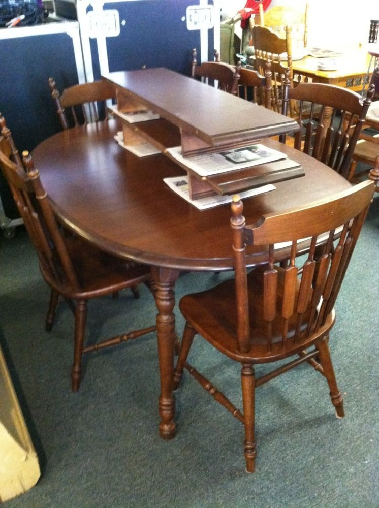 6 Tell City Chairs Company Cattail Chairs With Dining Table With 2 Leaves  #TellCityChairCo #