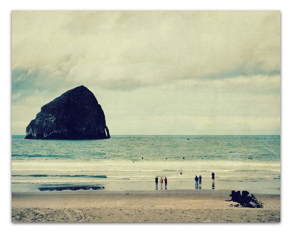 beach photograph, cannon beach,  cold, minimal, oregon, charcoal grey, gray, cloud - Haystack Rock, 11x14 fine art photo