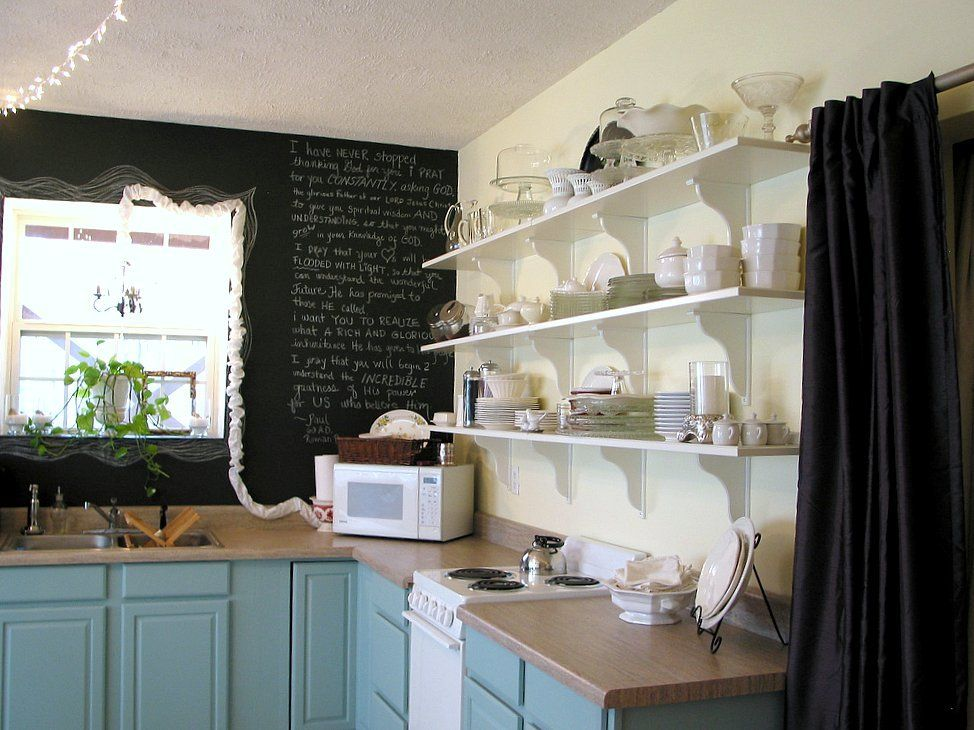 My Basement Kitchen Turned French Cafe Love The Color And Open Shelves