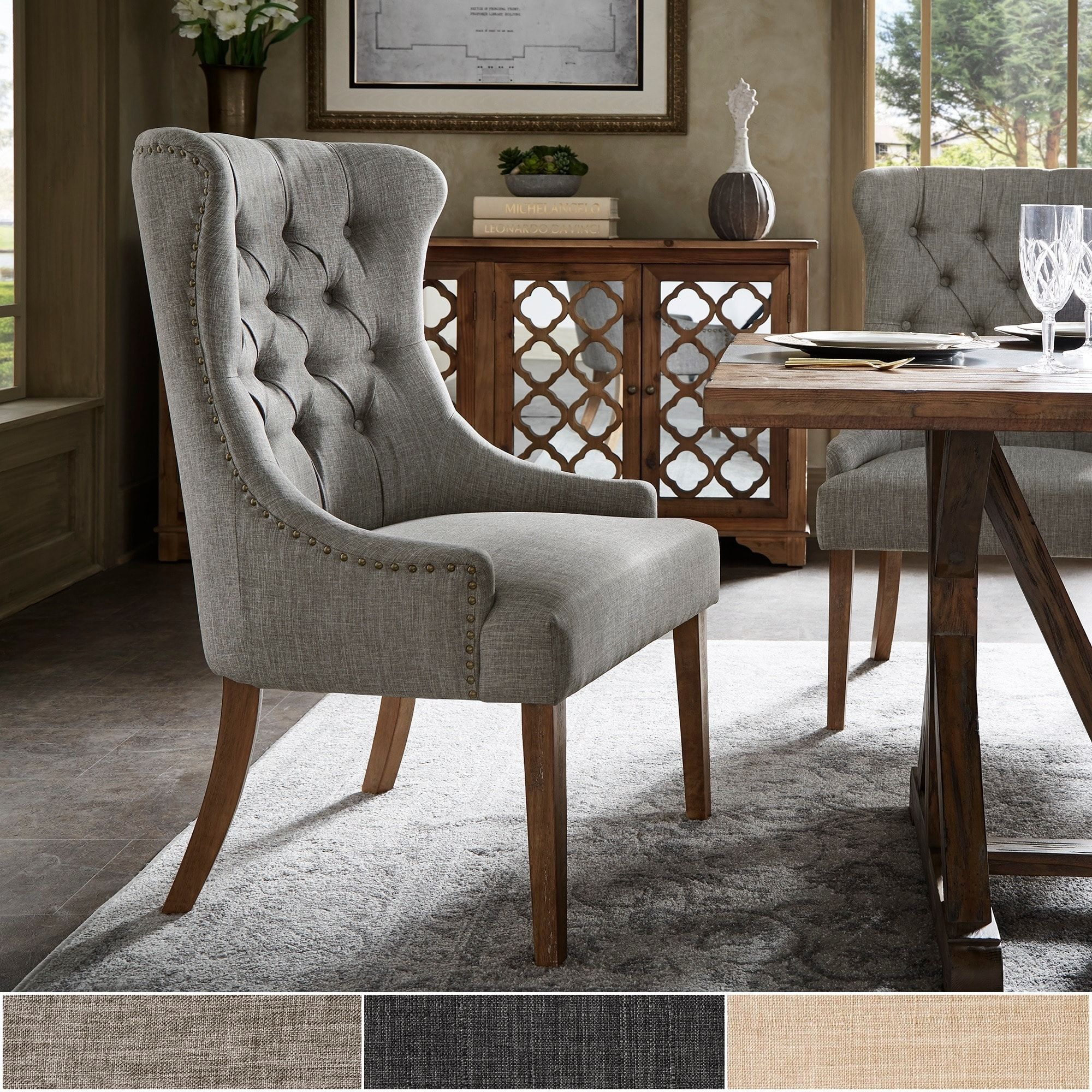 Kimpton Upholstered Button Tufted Wingback Chair By Inspire Q Artisan Grey Fabric Dining Chairs Furniture Wingback Dining Chair