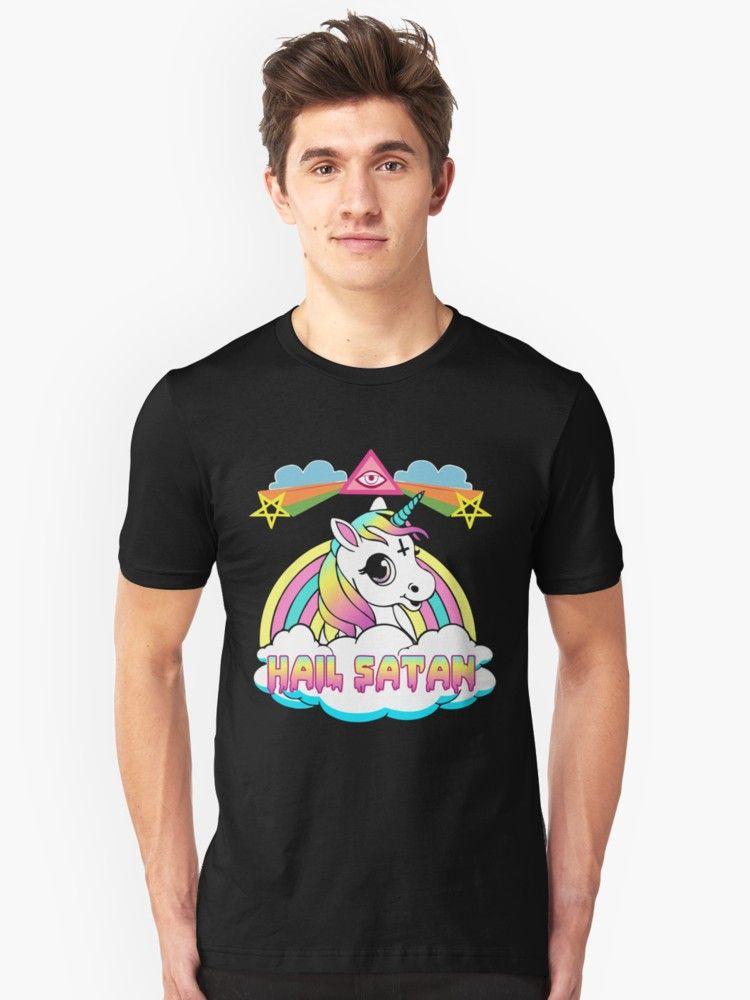cbc817555c5 Buy  Unicorn hail satan death metal rainbown t-shirt  by daniele2016 as a  T-Shirt