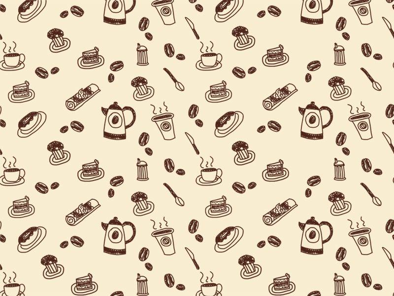 Coffee house wallpaper pattern design illustration for Pattern wallpaper for home