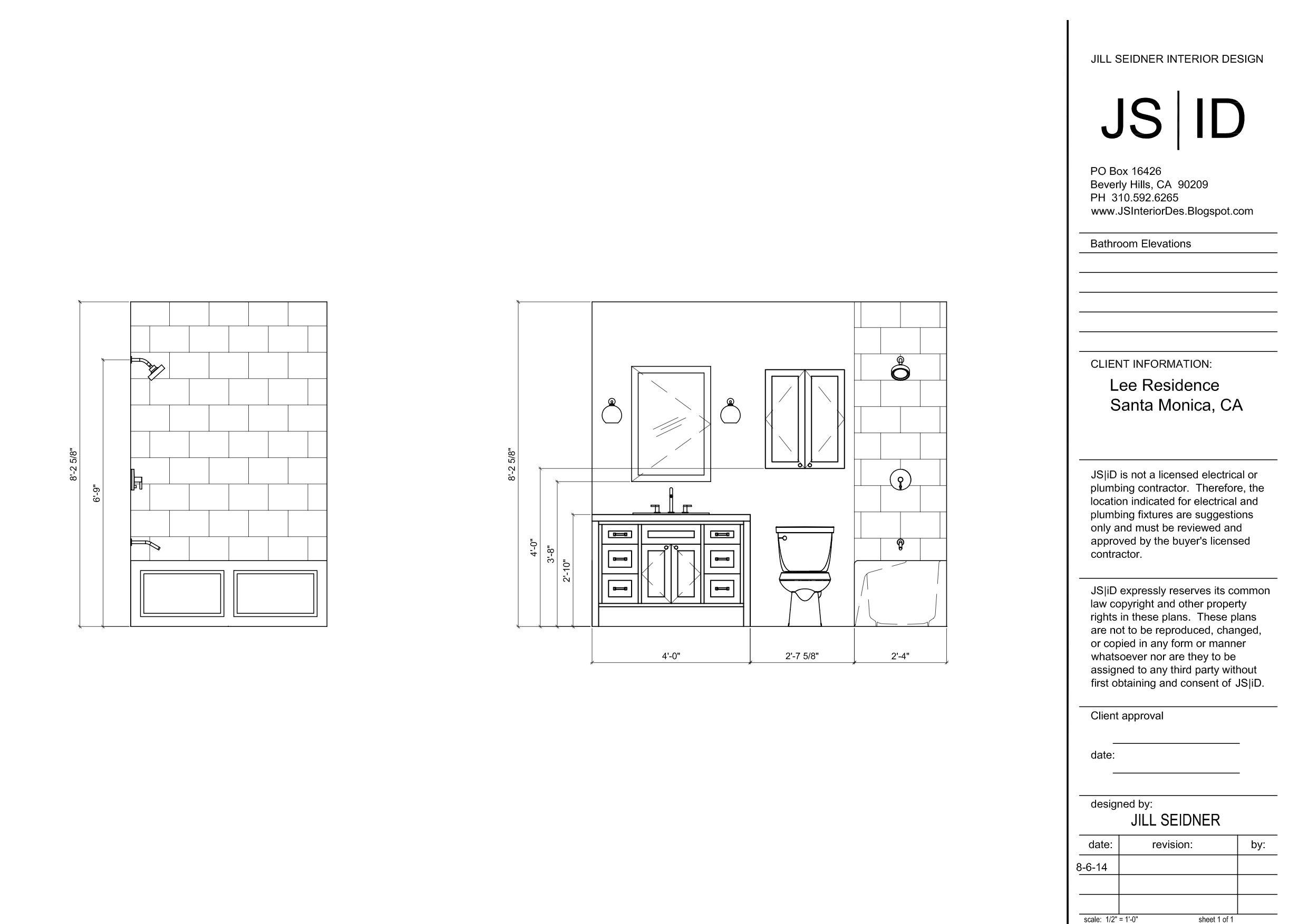 Santa Monica CA Townhouse Bathroom Remodel Elevation Drawings Www - Bathroom remodel santa monica