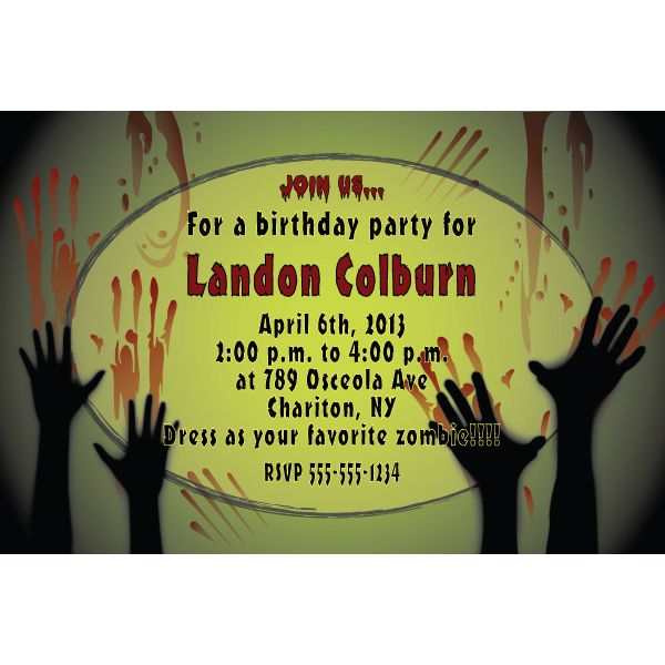 zombie birthday party invitations | zombie personalized,